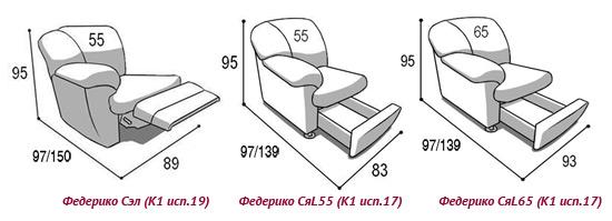 Размеры кресла-реклайнера